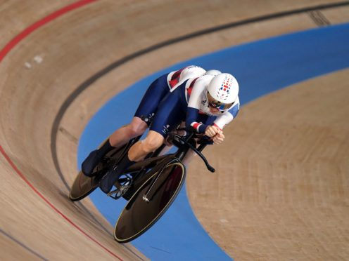 Great Britain's Lora Fachie and pilot Corrine Hall compete in the Women's B 1000m Time Trial during the Track Cycling at the Izu Velodrome (Tim Goode/PA)