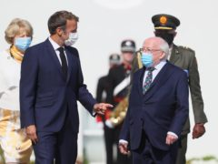 Michael D Higgins, right, and Emmanuel Macron at Aras an Uachtarain, Dublin (PA)