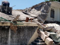 The damaged residence of the Catholic bishop in Les Cayes (Delot Jean/AP)