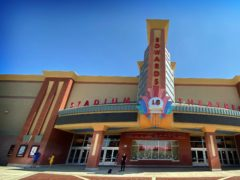 The cinema in Corona, near Los Angeles, where the shootings took place (Terry Pierson/The Orange County Register via AP)