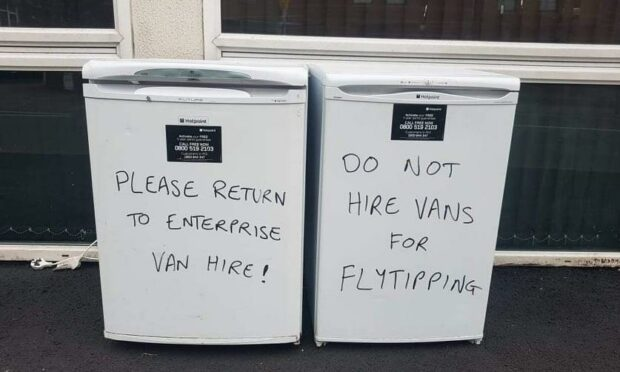 Dundee businessman's frosty response to vehicle hire firm whose van 'fly-tipped' two fridge freezers at his premises