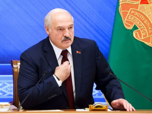 Belarusian President Alexander Lukashenko speaks during an annual press conference in Minsk, Belarus (Nikolay Petrov/BelTA photo via AP)