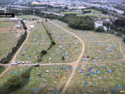 The site of Reading Festival after the event ended (flyskydrones@hotmail.com/PA)
