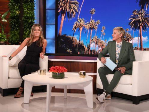 An emotional Jennifer Aniston is helping Ellen DeGeneres launch the farewell season of her daytime chat show (Michael Rozman/Warner Bros/PA)