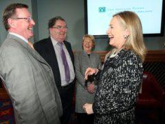 Hillary Clinton meets David Trimble, John Hume and his wife Pat (Paul Faith/PA)