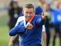 Ian Poulter celebrates after Europe's Ryder Cup win at Le Golf National (Gareth Fuller/PA)