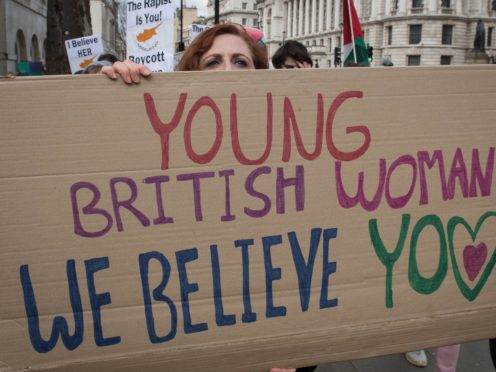 A protest outside Downing Street in central London in support of the British woman (PA)