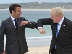 Boris Johnson with French president Emmanuel Macron at the G7 summit in Cornwall (Leon Neal/PA)