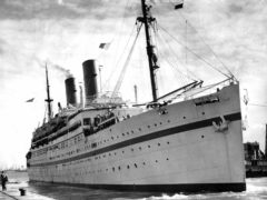 The then troopship 'Empire Windrush' docked in Southampton in 1954 (PA)