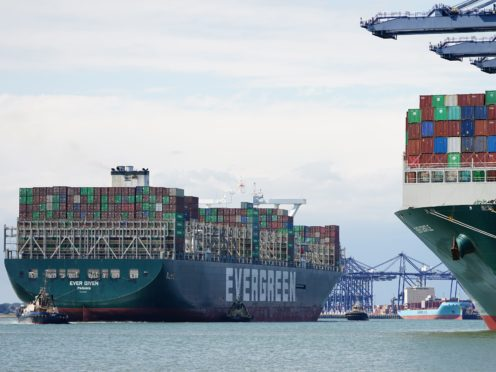 Global shipping was disrupted earlier this year when the Ever Given container ship got stuck in the Suez Canal (Aaron Chown/PA)
