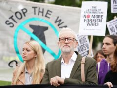 Former Labour leader Jeremy Corbyn joins a demonstration in Parliament Square by the Stop the War campaign group (Kirsty O'Connor/PA)