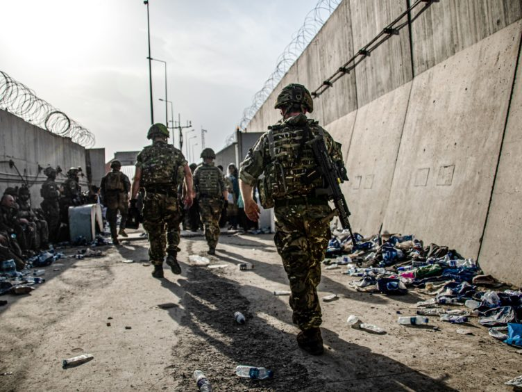 UK armed forces taking part in the evacuation of entitled personnel from Kabul airport (LPhot Ben Shread/MoD/PA)