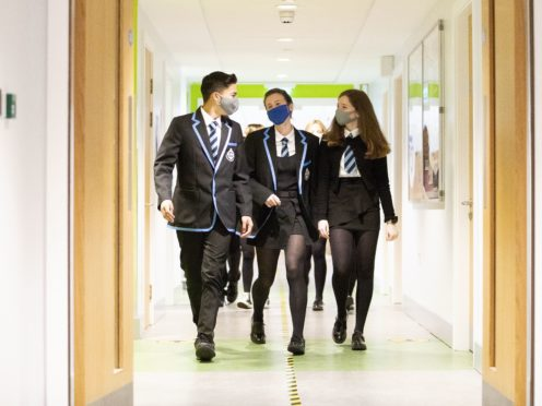 Students at St Columba's High School, Gourock (PA)