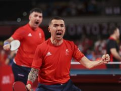 Will Bayley, front, and Paul Karabardak are chasing team table tennis gold (PA)
