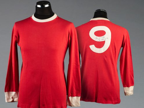 A signed Bobby Charlton Manchester United No 9 shirt circa 1965, part of football fan Bryan Horsnell's lifetime collection of memorabilia (Graham Budd Auctions/PA)