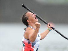 Great Britain's Emma Wiggs celebrates winning the gold medal in the Women's Va'a Single 200m (John Walton/PA)