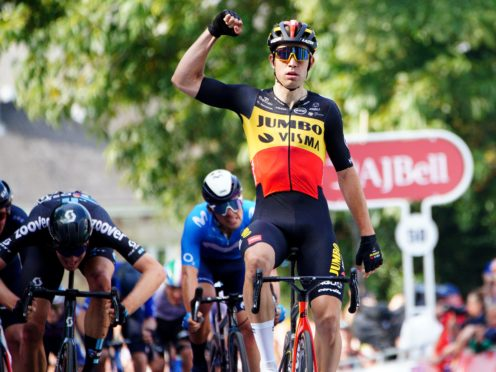 Team Jumbo-Visma's Wout Van Aert celebrates victory on the first stage of the Tour of Britain (Ben Birchall/PA)