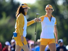 Europe's Mel Reid (right) and Leona Maguire celebrate after a putt on the 12th hole during the Solheim Cup (David Dermer/AP)