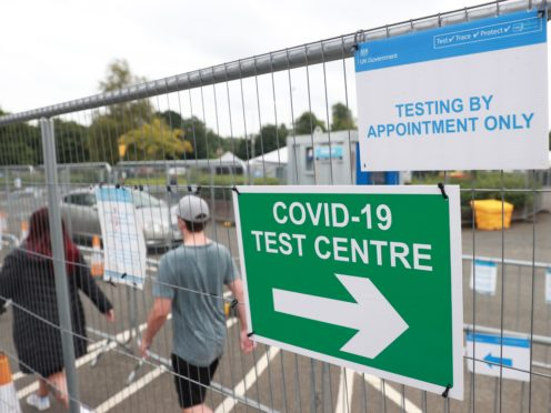 A Covid-19 testing centre in Lisburn, Northern Ireland (Liam McBurney/PA)