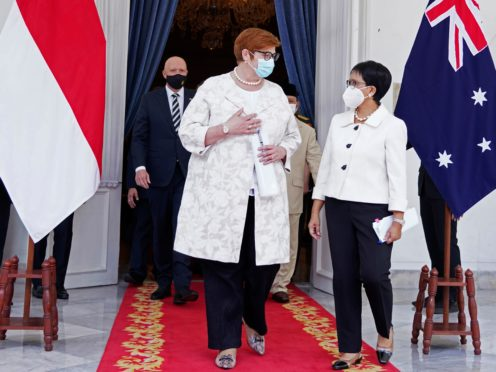 Australian Foreign Minister Marise Payne and her Indonesian counterpart Retno Marsudi after their meeting in Jakarta (Indonesian Ministry of Foreign Affairs via AP)
