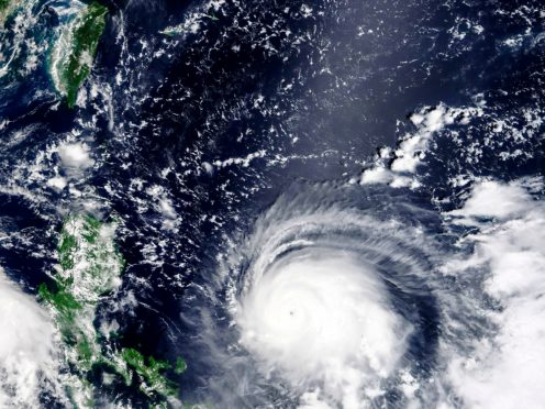 A satellite image released by Nasa showing Typhoon Chanthu (Nasa Worldview, Earth Observing System Data and Information System/via AP)