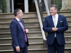 European Commission Vice President Maros Sefcovic (right) met with Northern Ireland First Minister Paul Givan at the Executive Office of Northern Ireland during a visit to Stormont last week (Peter Morrison/PA)