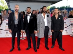 Marvin Humes, JB Gill, Oritse Williams and Aston Merrygold of JLS attending the National Television Awards at the O2 Arena, London (Ian West/PA)