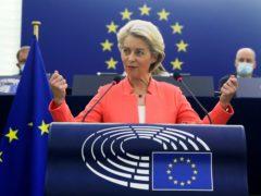Ursula von der Leyen speaking at the European Parliament (Yves Herman, Pool via AP)