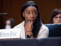 US Olympic gymnast Simone Biles testifies during a Senate Judiciary hearing (Saul Loeb/Pool via AP)