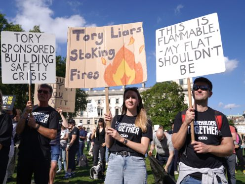 Protesters from Leaseholders Together gather at the rally in Parliament Square (Kirsty O'Connor/PA)