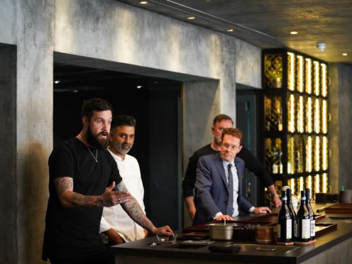 West Midlands Mayor Andy Street alongside chefs Aktar Islam, Glynn Purnell and Alex Claridge, at the Opheem restaurant, Birmingham (Jacob King/PA)