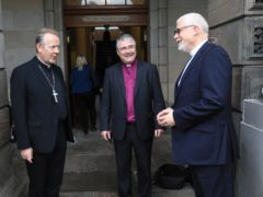 Archbishop Eamon Martin, left, Primate of All Ireland; Church of Ireland Archbishop of Armagh John McDowell, centre, and Rev David Bruce, Moderator of the Presbyterian Church (Peter Morrison/PA)