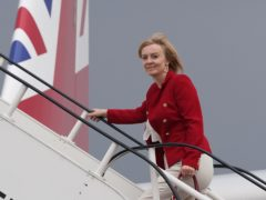 Foreign Secretary Liz Truss boards RAF Voyager at Stansted Airport ahead of a four-day visit to New York and Washington. (Stefan Rousseau/PA)