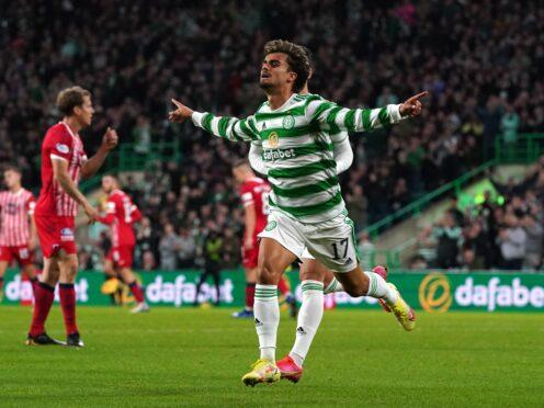 Celtic's Jota celebrates his opener (Andrew Milligan/PA)