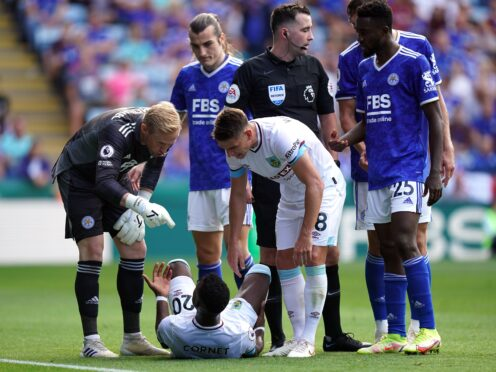 Leicester goalkeeper Kasper Schmeichel was angered by Burnley's tactics (Mike Egerton/PA)