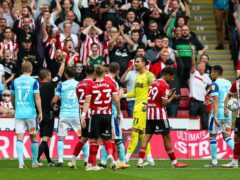 Derby frustrations boiled over when Kelle Roos was sent off in defeat at Sheffield United (Barrington Coombs/PA)