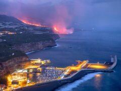 Lava from the volcano reaches the sea on the island of La Palma (Saul Santos/AP)