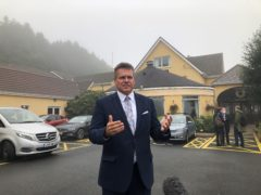 Maros Sefcovic has called for the political rhetoric over the NI Protocol to be dialled down during a visit to Newry (Jonathan McCambridge/PA)