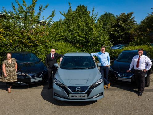 New fleet of Nissan Leaf electric cars have been ordered by the council at Evans Halshaw in Sunderland. L/R Cllr Claire Rowntree, Noel Critchley (Nissan),Kevin Johnson (Nissan) and Neil Milnthorpe (Evans Halshaw).