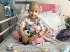 Five-year-old cancer patient Lana Nixon in hospital (Gemma Haswell/PA)