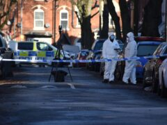 Police at the scene in Linwood Road, Handsworth, where 15-year-old Keon Lincoln was fatally attacked in January (Matthew Cooper/PA)