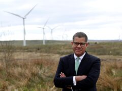 Cop26 president Alok Sharma at Whitelee Windfarm near Glasgow (PA)