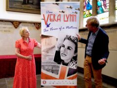 Virginia Lewis-Jones with sculptor Paul Day at the launch of an appeal to raise funds for a memorial statue of her mother Dame Vera Lynn (Gareth Fuller/PA)