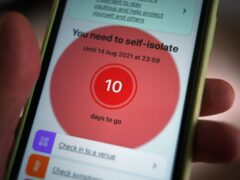 A message to self-isolate on the NHS coronavirus contact tracing app (PA)
