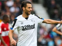 Sam Baldock will miss Derby's clash with Luton (Barrington Coombs/PA)