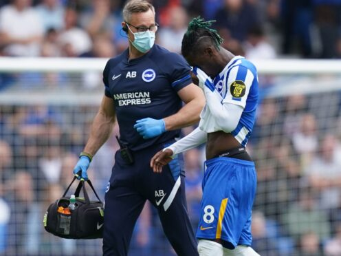 Yves Bissouma, right, was injured against Leicester a fortnight ago (Gareth Fuller/PA)