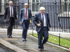 (left to right) Chief medical officer for England Chris Whitty, chief scientific adviser Sir Patrick Vallance and Prime Minister Boris Johnson leave 10 Downing Street (Richard Pohle/The Times/PA)