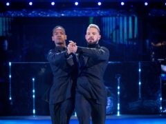 John Whaite and Johannes Radebe during the dress run for the first episode of Strictly Come Dancing 2021 (BBC/PA)