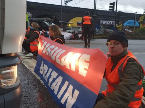 Protesters from Insulate Britain blocking Junction 1 of the M1 at Brent Cross, north London (Insulate Britain/PA)