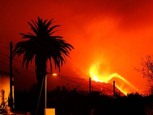 The volcano spews out lava on the Canary island of La Palma (Daniel Roca/AP)